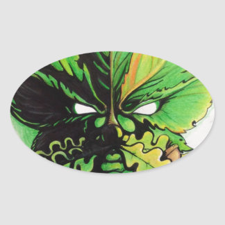 Celtic green man of the forest oval sticker