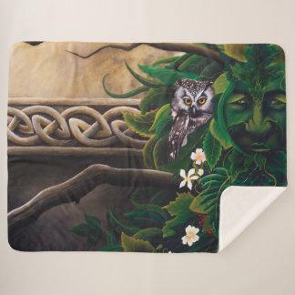 Celtic Green Man Sherpa Blanket