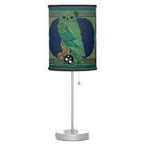 Celtic Green Owl Desk Lamp
