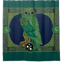 Celtic Green Owl Shower Curtain