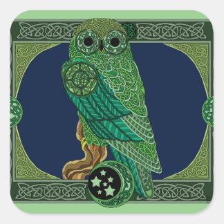 Celtic Green Owl Square Sticker