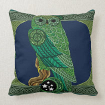 Celtic Green Owl Throw Pillow