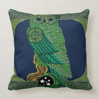 Celtic Green Owl Throw Pillow