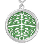 Celtic Green Silver Plated Necklace