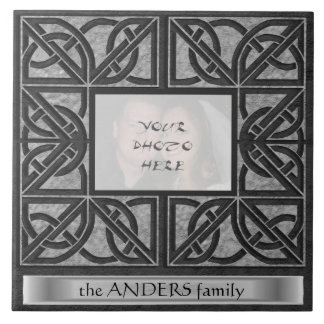 """""""Celtic Grey Stone"""" Photo Frame with Message  Tile"""