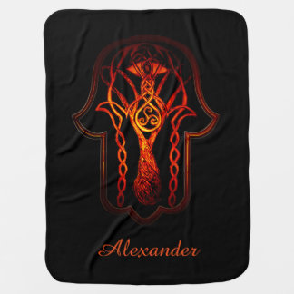 Celtic Hamsa Hand (Orange/Red) Baby Blanket