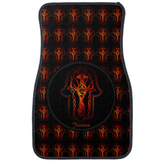 Celtic Hamsa Hand (Orange/Red) Car Mat