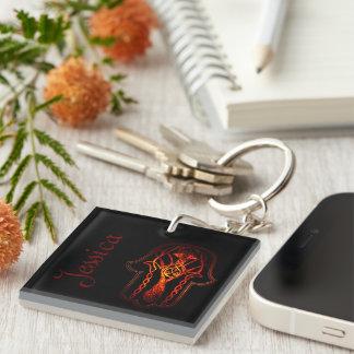 Celtic Hamsa Hand (Orange/Red) Keychain