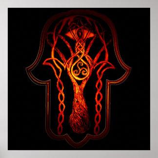 Celtic Hamsa Hand (Orange/Red) Poster