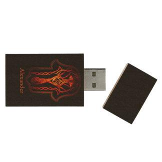 Celtic Hamsa Hand (Orange/Red) Wood USB Flash Drive
