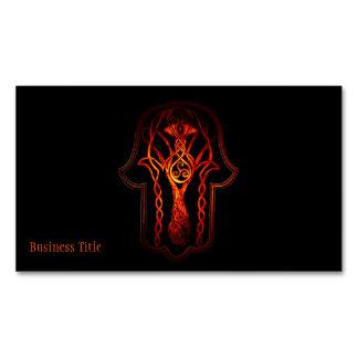 Celtic Hamsa Hand (Orange/Red) Magnetic Business Cards (Pack Of 25)