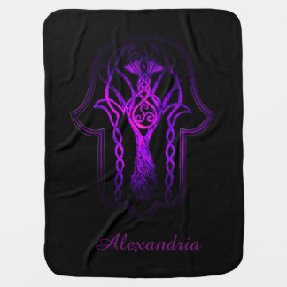 Celtic Hamsa Hand (Purple) Baby Blanket