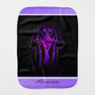Celtic Hamsa Hand (Purple) Baby Burp Cloth