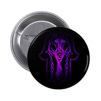 Celtic Hamsa Hand (Purple) Pinback Button