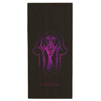 Celtic Hamsa Hand (Purple) Wood USB Flash Drive