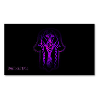 Celtic Hamsa Hand (Purple) Magnetic Business Cards (Pack Of 25)