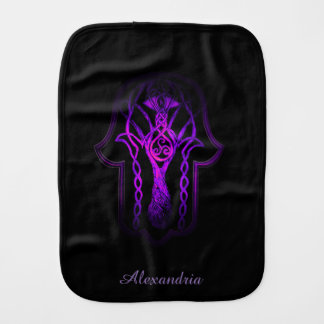 Celtic Hamsa Hand (purplish/pink) Burp Cloth