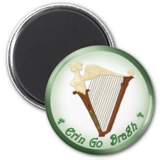 Celtic Harp 2 Inch Round Magnet