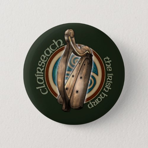 Celtic Harp Button (Dark)