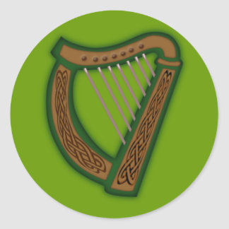 Celtic harp celtic harp classic round sticker