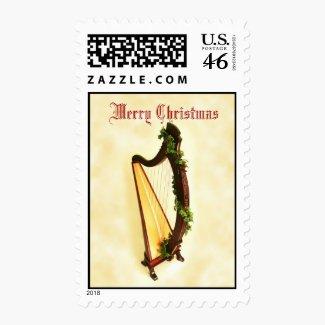 Celtic Harp Christmas Stamp