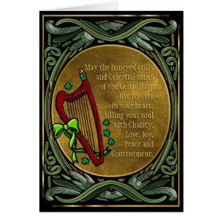 Celtic Harp, Entwined Green Vines, Irish Blessings Card