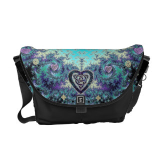 Celtic Heart Fractal Tapestry Messenger Bag