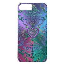 Celtic Heart Knot on Colorful Metallic Damask