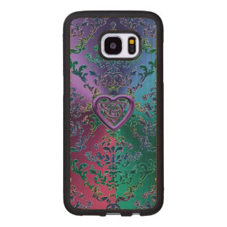 Celtic Heart Knot on Colorful Metallic Damask Wood Samsung Galaxy S7 Edge Case