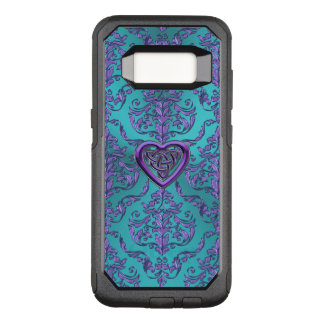 Celtic Heart Knot on  Turquoise Purple Damask OtterBox Commuter Samsung Galaxy S8 Case