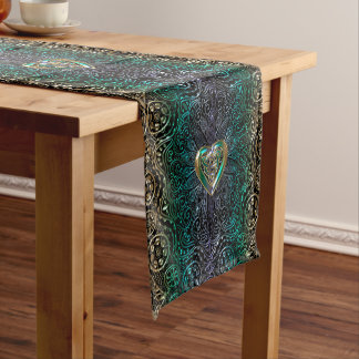Celtic Heart Mandala In Green and Gold Original Short Table Runner