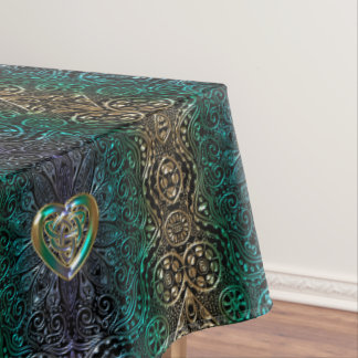 Celtic Heart Mandala In Green and Gold Original Tablecloth