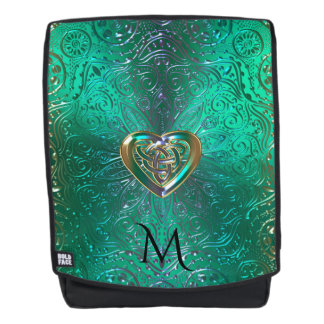 Celtic Heart Mandala In Green Gold Backpack
