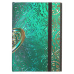 Celtic Heart Mandala In Green Gold Cover For iPad Air