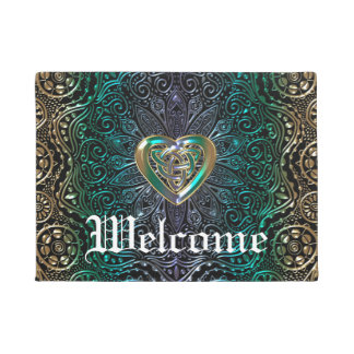 Celtic Heart Mandala In Green Gold Doormat