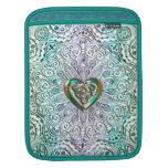 Celtic Heart Mandala In Green Gold iPad Sleeve