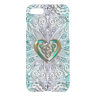 Celtic Heart Mandala In Green Gold iPhone 7 Case