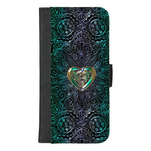Celtic Heart Mandala In Green Gold Phone Case