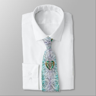Celtic Heart Mandala In Green Gold Neck Tie
