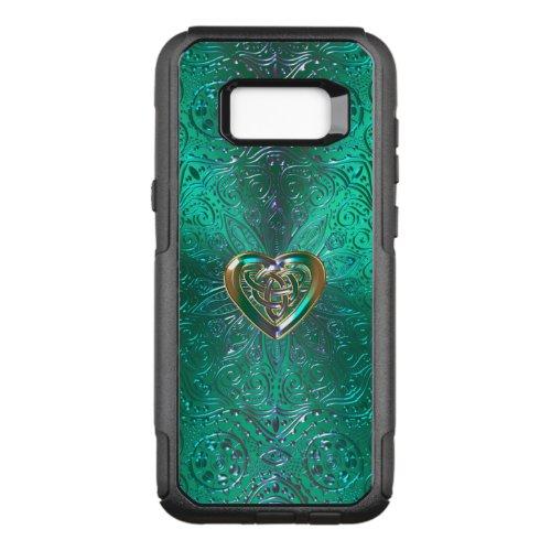 Celtic Heart Mandala In Green Gold