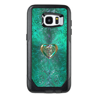 Celtic Heart Mandala In Green Gold OtterBox Samsung Galaxy S7 Edge Case