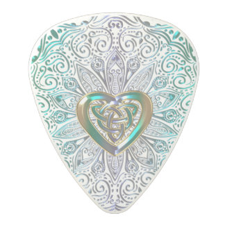 Celtic Heart Mandala In Green Gold Polycarbonate Guitar Pick
