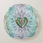 Celtic Heart Mandala In Green Gold Round Pillow