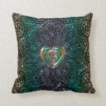 Celtic Heart Mandala In Green Gold Throw Pillow