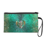 Celtic Heart Mandala In Green Gold Wristlet Purse