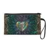 Celtic Heart Mandala In Green Gold Wristlet Purse