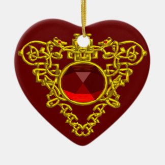 CELTIC HEART ,Red Ruby Ceramic Ornament