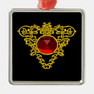 CELTIC HEART ,Red Ruby Metal Ornament