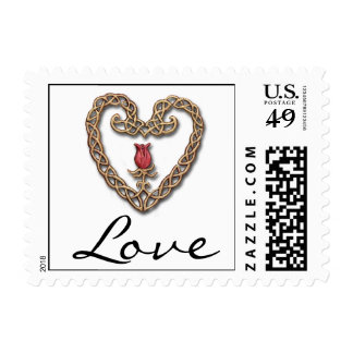 Celtic Heart with a Red Rose Love Postage Stamp