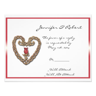 Celtic Heart with a Red Rose Response Card Invite